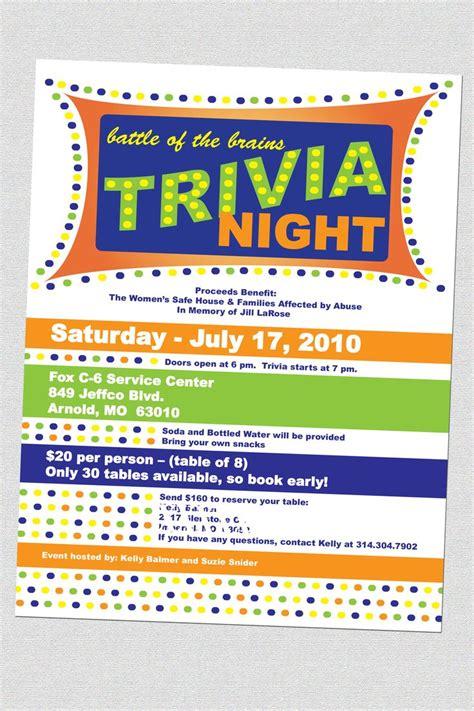 trivia night flyer templates trivia night flyers fundraising pinterest night
