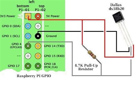 connection diagram for ds18b20 1 wire temperature sensor to raspberry pi gpio raspberry pi