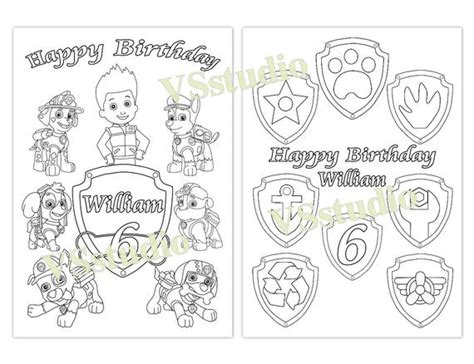 paw patrol birthday party favor paw patrol coloring pages etsy