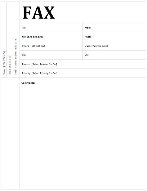 templates fax cover letter template