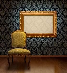 Zimmertür Mit Rahmen : classic antiken stuhl und vergoldeten rahmen in zimmer mit blauem damast muster wand ~ Sanjose-hotels-ca.com Haus und Dekorationen