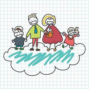 Hand Drawing Cartoon Character Happy Family On Graph Paper