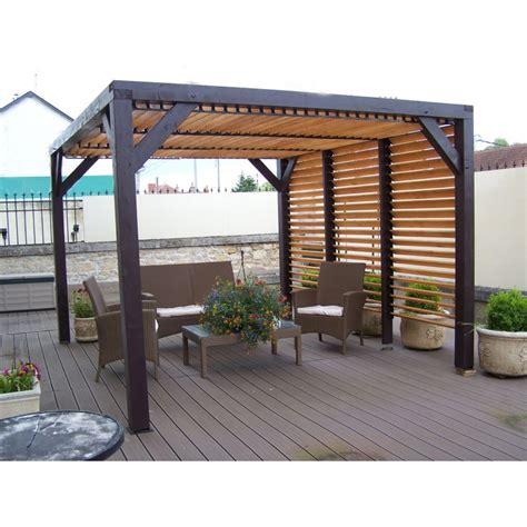 conversion mesure cuisine pergola en bois avec ventelles amovibles sur toiture 1 côté 348x310x232cm veneto