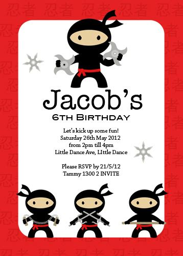 buy boys ninja party invitations  printable boys