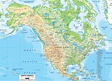 Physical Map of North America - Ezilon Maps