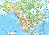 Physical Map of North America - Ezilon Maps