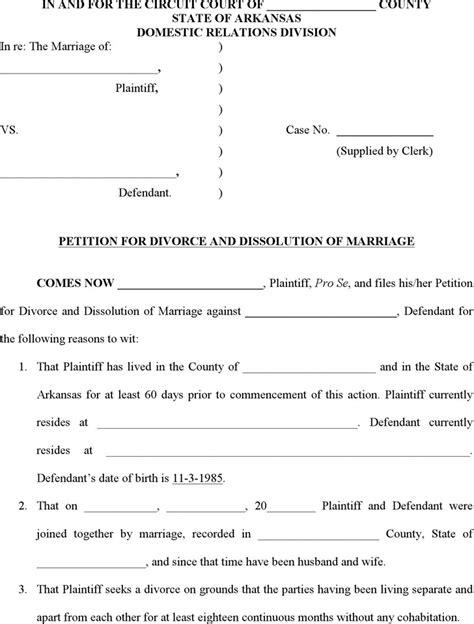 arkansas divorce forms download download arkansas divorce papers for free tidytemplates