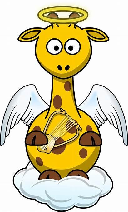 Angel Giraffe Clipart Clip Wings Cartoon Heaven