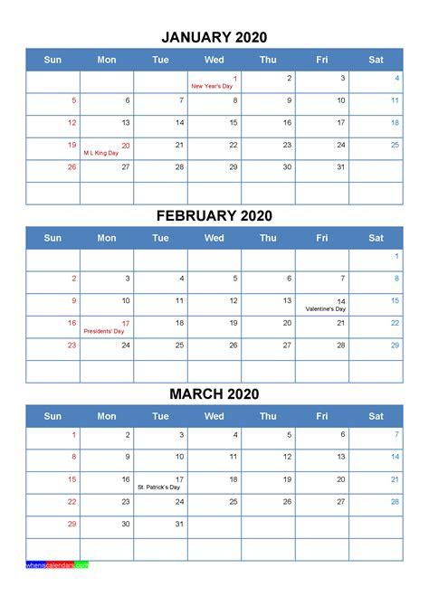 printable january february march  calendar