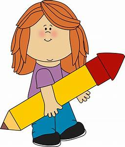 Kid with a Big Pencil Clip Art - Kid with a Big Pencil Image