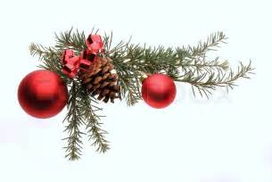 christmas decoration with pine branches red glass balls and pine cone stock photo colourbox
