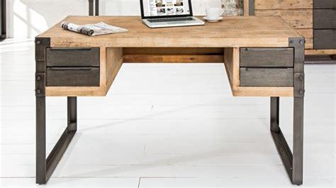bureau bois et metal bureau droit design industriel bois massif et métal jorg