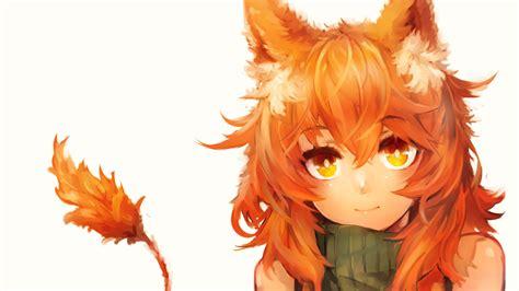 orange eyes redhead anime fox girl animal ears