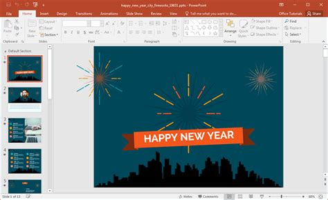 year fireworks powerpoint template
