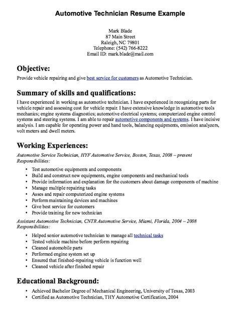 automotive technician resume sle resumes design