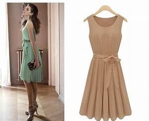Fashion Chiffon Bow sleeveless cute cheap dresses for ...