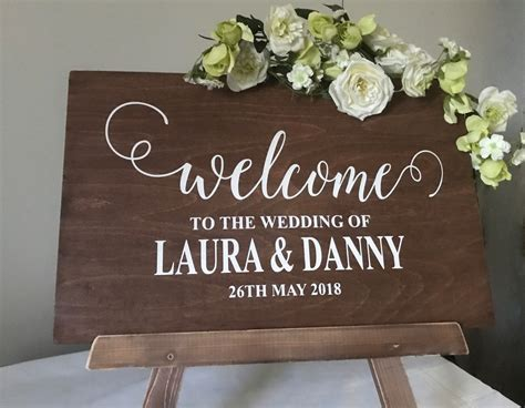 wedding  sign personalised rustic wooden wedding