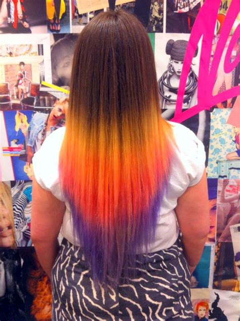 Yellow Purple Ombre Dip Dyed Rainbow Hair Would Not Leave