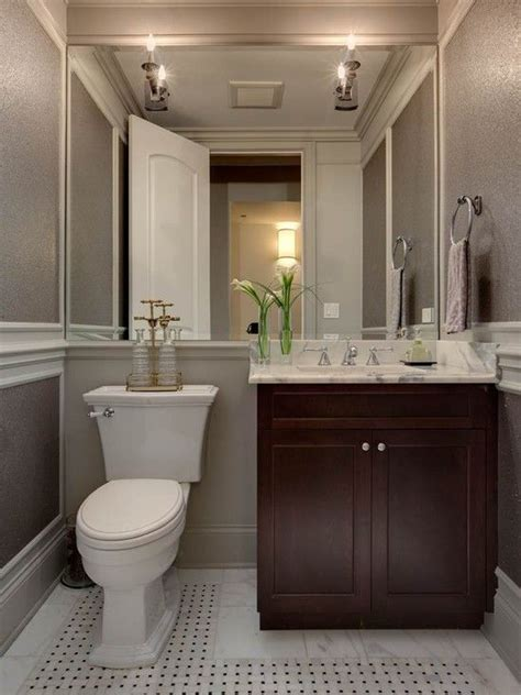 Transitional bathroom with triptych mirror. Powder Room Design Ideas, Pictures, Remodels and Decor ...