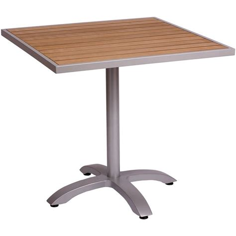 aluminum patio tables with plastic teak top
