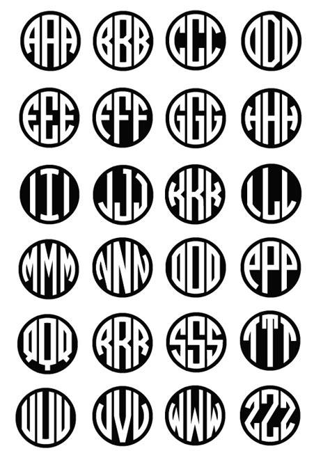 circle block monogram font  images vinyl circle