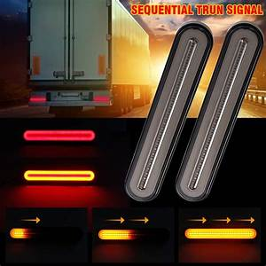 Okeen 2pc Car Led Tail Light Bar Sequential Ambe Turn