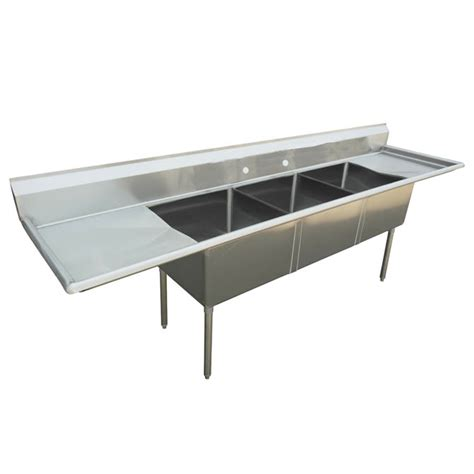 3 compartment sink with 2 drainboards sauber 3 compartment stainless steel sink with two 18