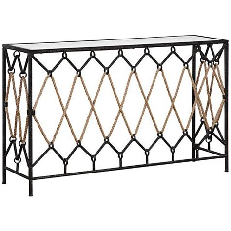 black iron and glass console table uttermost darya black iron nautical console table 9w146