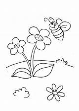 Coloring Flowers Little Bumblebee Print Pages sketch template