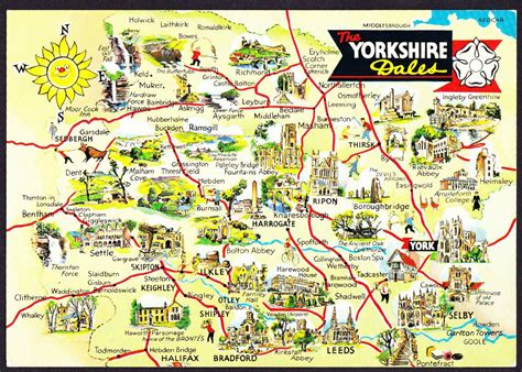 aaps uk yorkshire dales map postcard cotswolds