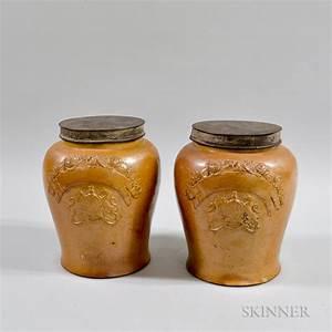 Mirek Smí Ek Salt Glazed Pair Of Salt Glazed Jars With Tin Lids Sale Number 3024t