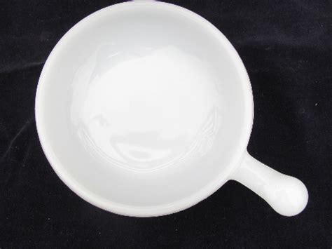 vintage milk white oven proof glass handled soup bowls