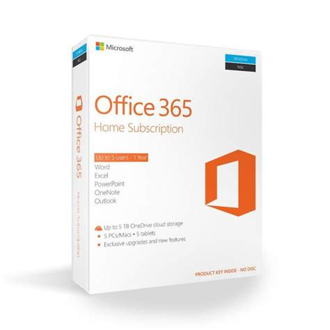 Office 365 Home Subscription by Microsoft Office 365 Home 32 64 Bit 1 Yr 5 Pc Or Mac
