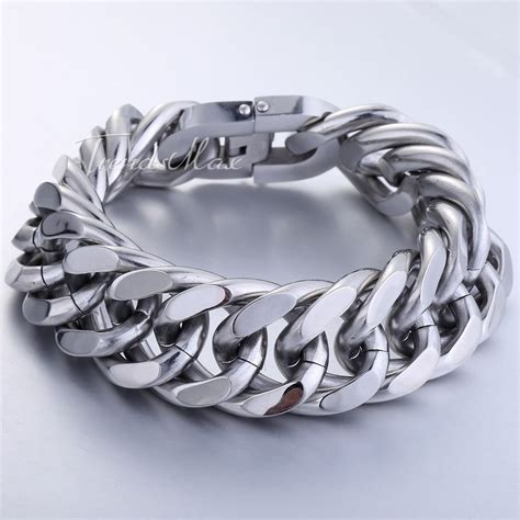 mm mens chain curb link rombo silver tone  stainless