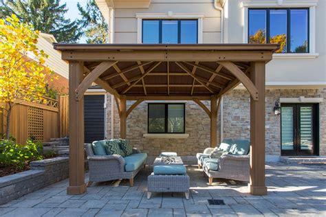 wood gazebo  aluminium roof