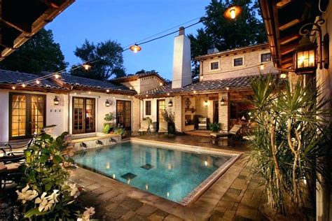 pool modern single story mediterranean house plans courtyard home designs courtyards homes built