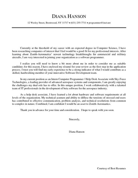 Cover Letter Changing Industries by Sle Cover Letter For Internship In Computer Science