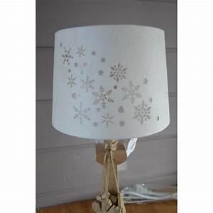 Lampe A Poser Pas Cher : lampe poser bois avec abat jour flocons achat vente ~ Teatrodelosmanantiales.com Idées de Décoration