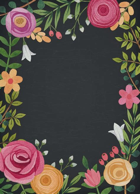 Black Themed Floral Wedding Invitation Template Floral