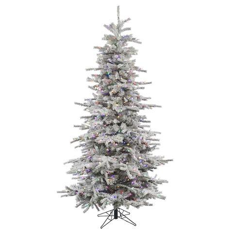 pre lit multi color led slim christmas tree vickerman 31096 7 5 x 50 quot flocked slim pine 700 multi color italian led lights