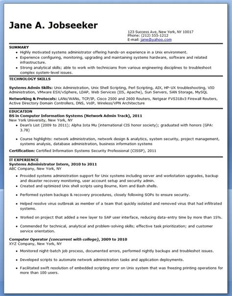 systems administrator resume sle entry level resume
