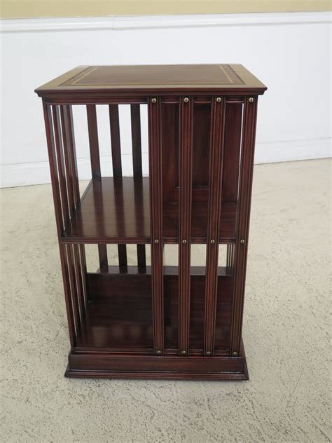 Leather Bookcase by 47315ec Style Leather Top Revolving Mahogany