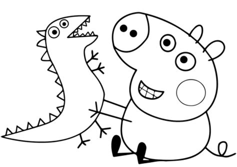 George Pig Plays with Dragon coloring page Free