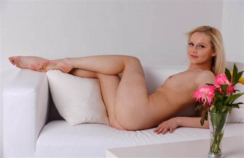 #Blonde #Spread #Her #Legs #On #White #Sofa #With #A #Smile