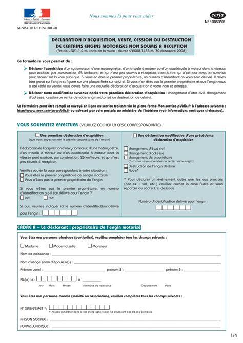 acte cession vehicule declaration moto cerfa 13853