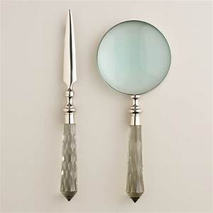 Silver and glass magnifying glass and letter opener set for Letter opener magnifying glass set