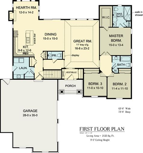 floor plan  ranch house plan  skip hearth room extend powder room  dr