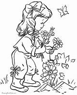 Coloring Garden Flower Pages Landscape Print sketch template