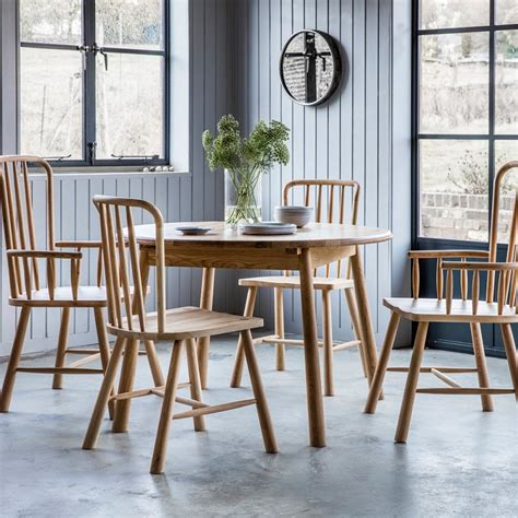 Alpine Round Extendable Dining Table Oak  Modern Kitchen
