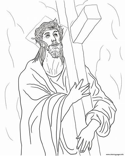 Cross Jesus Coloring Station Pages Carries Second